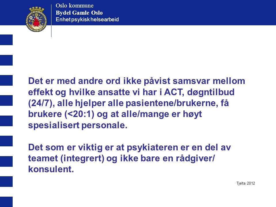 Oslo kommune Bydel Gamle Oslo. Enhet psykisk helsearbeid. Oslo kommune. Bydel Gamle Oslo.