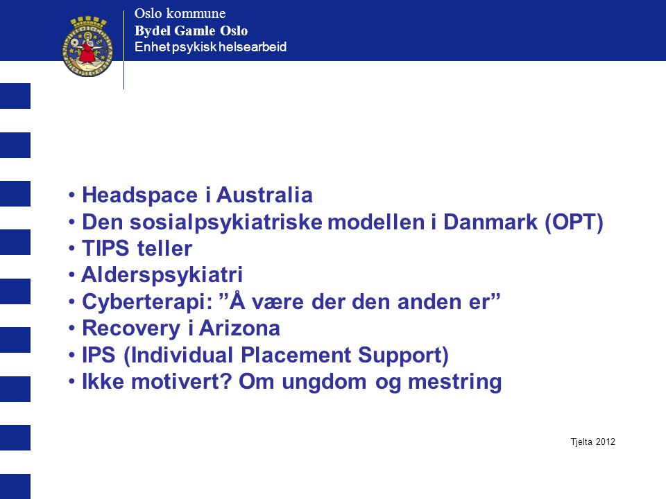 Den sosialpsykiatriske modellen i Danmark (OPT) TIPS teller