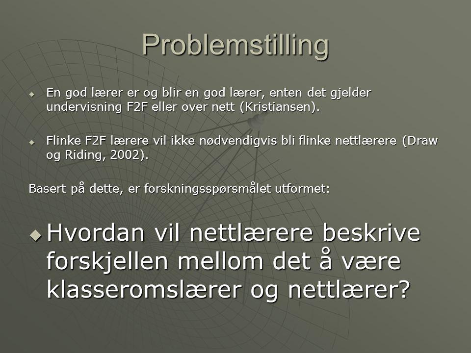 Problemstilling En god lærer er og blir en god lærer, enten det gjelder undervisning F2F eller over nett (Kristiansen).