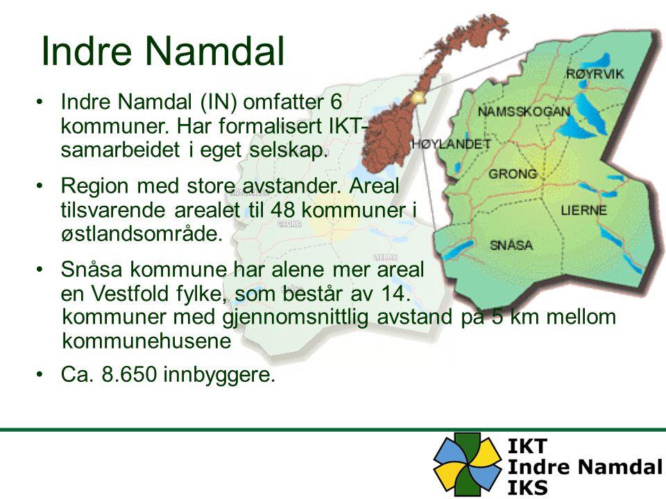 Indre Namdal Indre Namdal (IN) omfatter 6 kommuner. Har formalisert IKT- samarbeidet i eget selskap.
