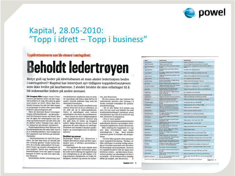 Kapital, 28.05-2010: Topp i idrett – Topp i business