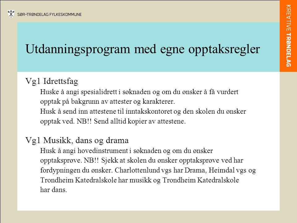 Utdanningsprogram med egne opptaksregler