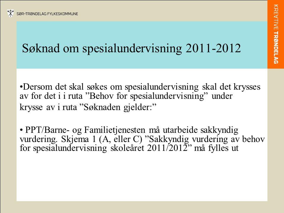 Søknad om spesialundervisning 2011-2012