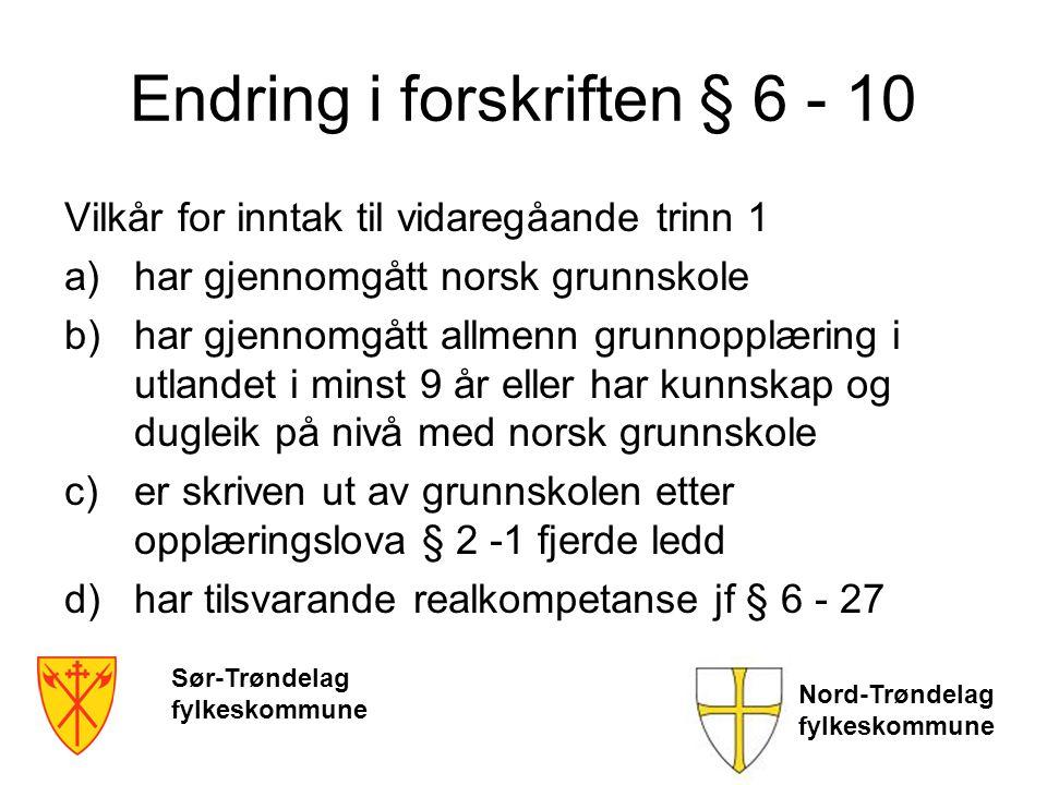 Endring i forskriften § 6 - 10