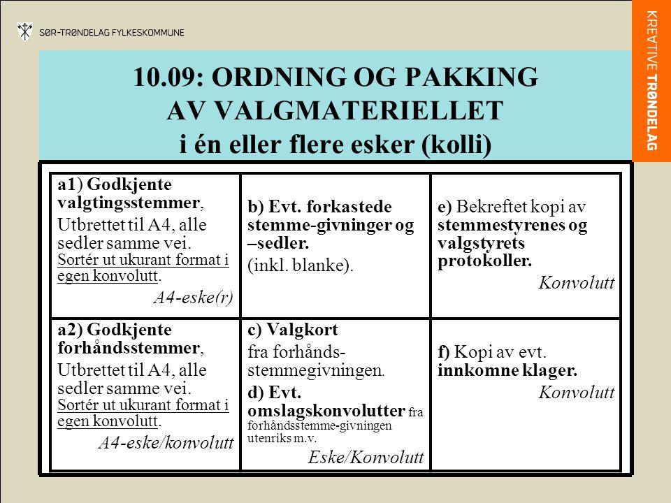 10.09: ORDNING OG PAKKING AV VALGMATERIELLET i én eller flere esker (kolli)