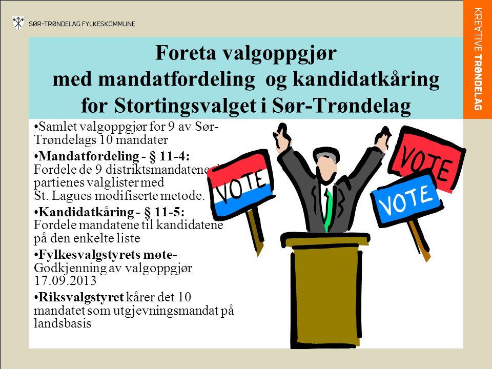 Foreta valgoppgjør med mandatfordeling og kandidatkåring for Stortingsvalget i Sør-Trøndelag