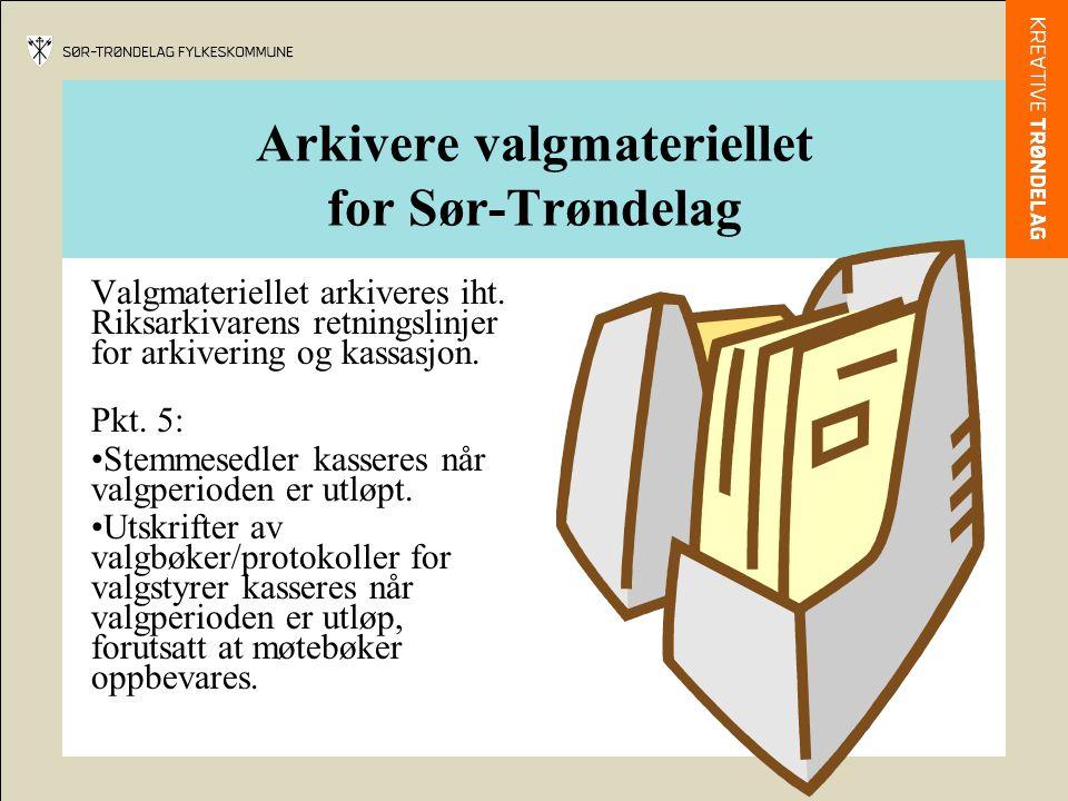 Arkivere valgmateriellet for Sør-Trøndelag