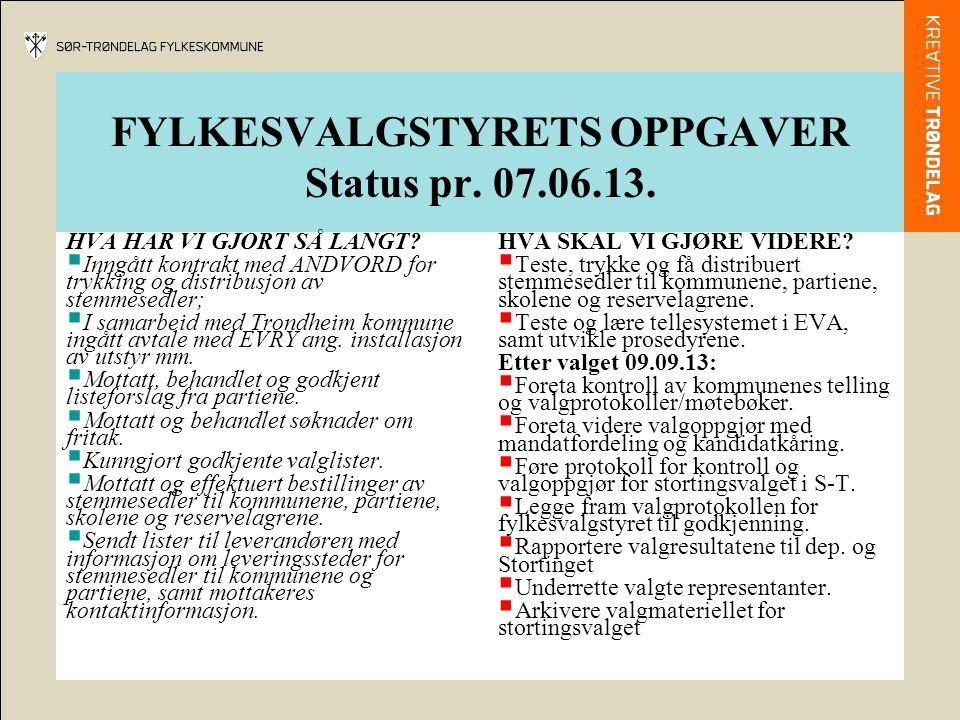 FYLKESVALGSTYRETS OPPGAVER Status pr. 07.06.13.