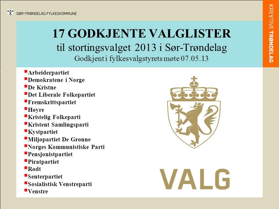 17 GODKJENTE VALGLISTER til stortingsvalget 2013 i Sør-Trøndelag Godkjent i fylkesvalgstyrets møte 07.05.13