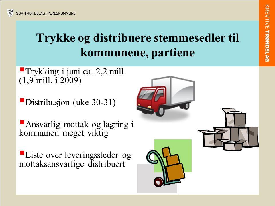 Trykke og distribuere stemmesedler til kommunene, partiene