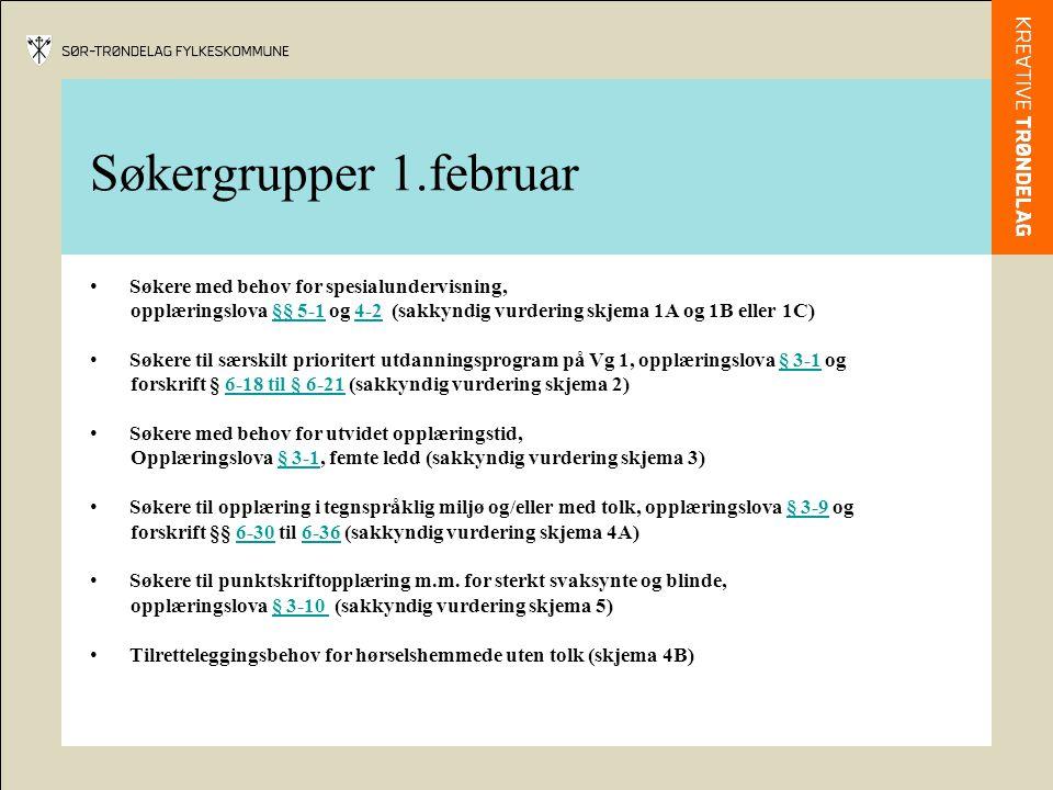 Søkergrupper 1.februar Søkere med behov for spesialundervisning,