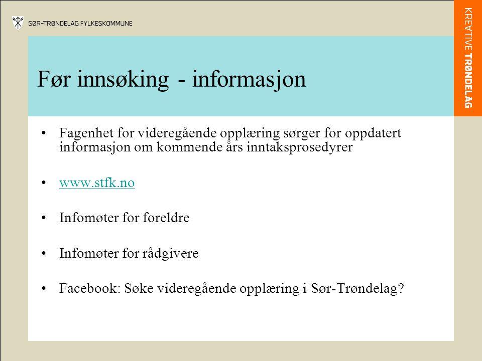 Før innsøking - informasjon