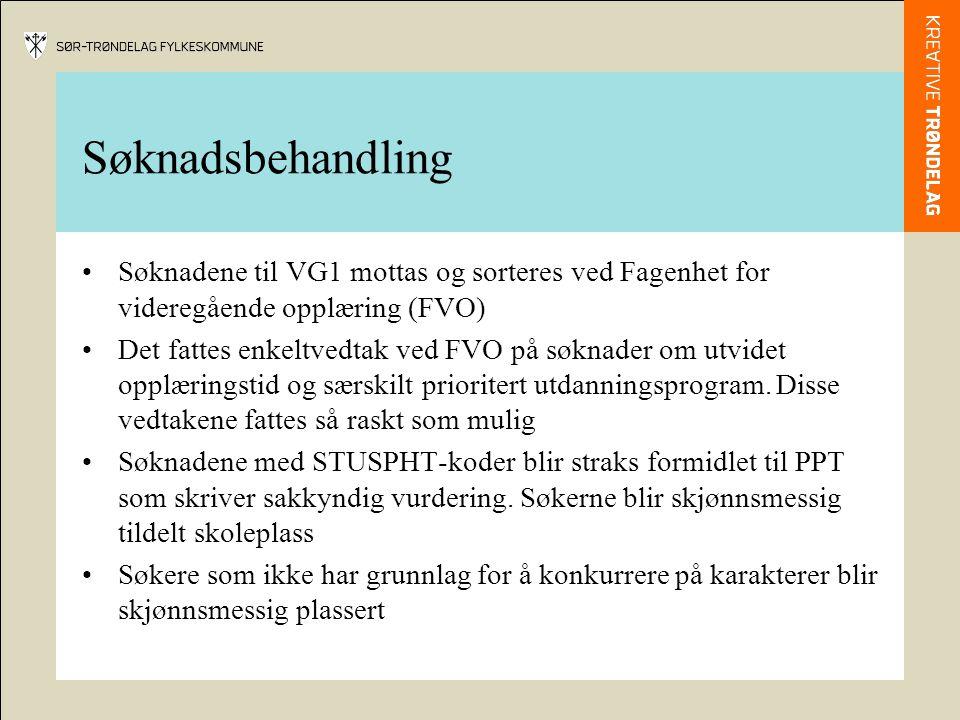 Søknadsbehandling Søknadene til VG1 mottas og sorteres ved Fagenhet for videregående opplæring (FVO)