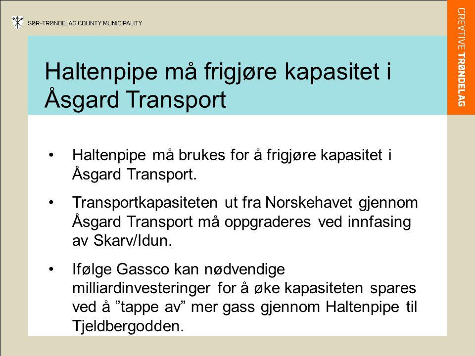 Haltenpipe må frigjøre kapasitet i Åsgard Transport