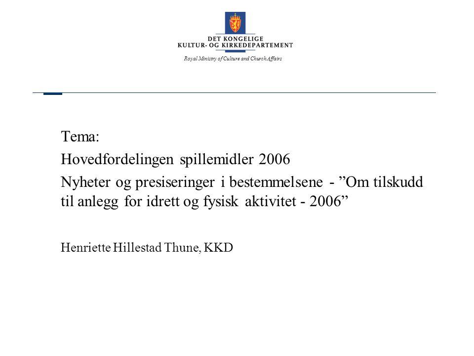 Tema: Hovedfordelingen spillemidler 2006. Nyheter og presiseringer i bestemmelsene - Om tilskudd til anlegg for idrett og fysisk aktivitet - 2006