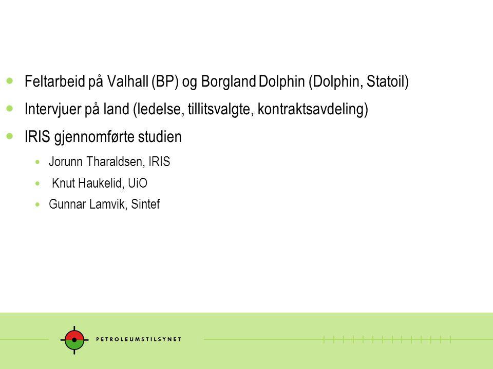 Feltarbeid på Valhall (BP) og Borgland Dolphin (Dolphin, Statoil)