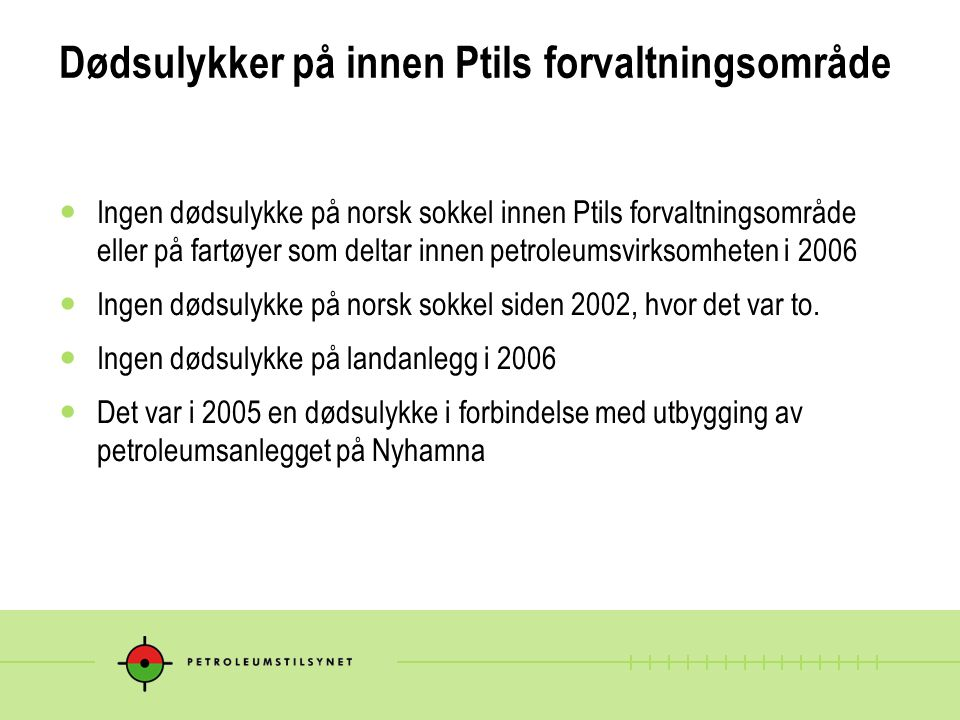 Dødsulykker på innen Ptils forvaltningsområde
