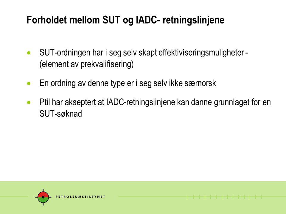 Forholdet mellom SUT og IADC- retningslinjene