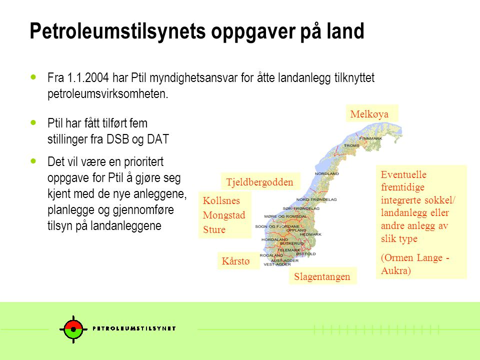 Petroleumstilsynets oppgaver på land