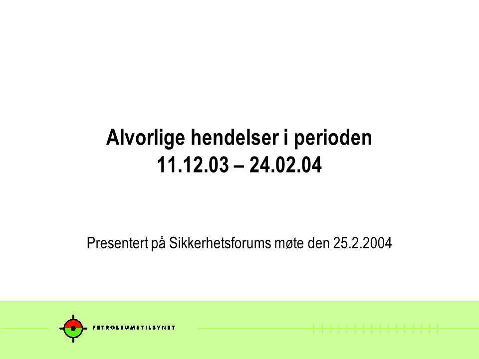 Alvorlige hendelser i perioden 11.12.03 – 24.02.04