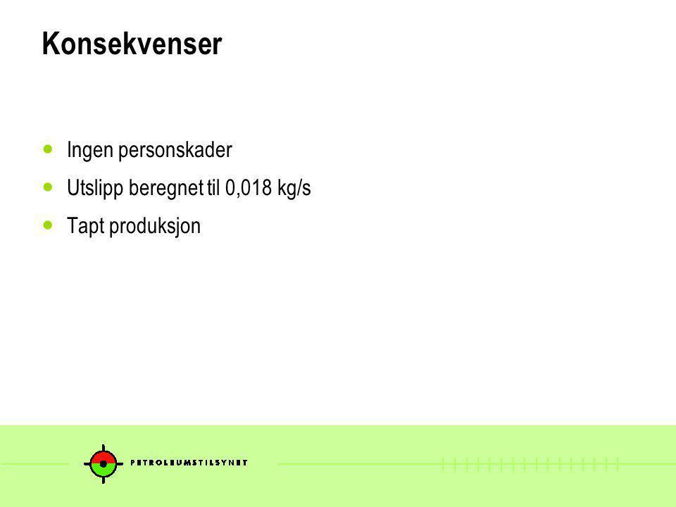 Konsekvenser Ingen personskader Utslipp beregnet til 0,018 kg/s