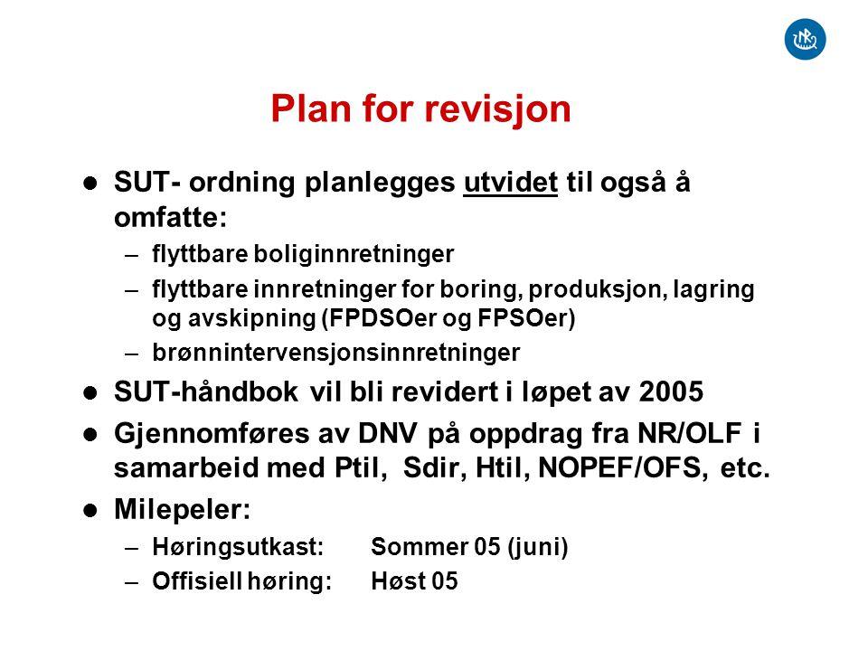 Plan for revisjon SUT- ordning planlegges utvidet til også å omfatte: