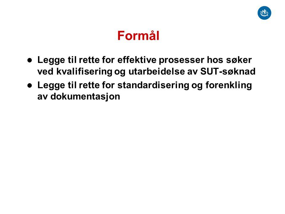 Formål Legge til rette for effektive prosesser hos søker ved kvalifisering og utarbeidelse av SUT-søknad.