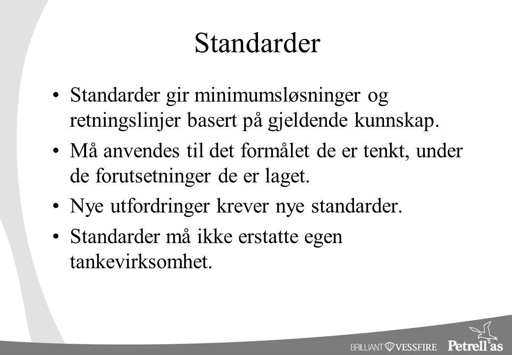 Standarder Standarder gir minimumsløsninger og retningslinjer basert på gjeldende kunnskap.