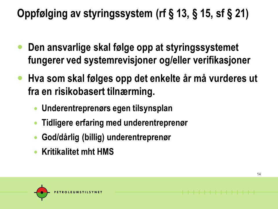Oppfølging av styringssystem (rf § 13, § 15, sf § 21)