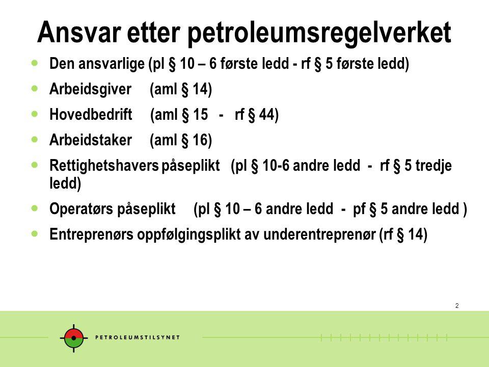 Ansvar etter petroleumsregelverket