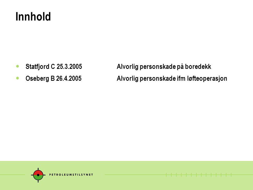 Innhold Statfjord C 25.3.2005 Alvorlig personskade på boredekk