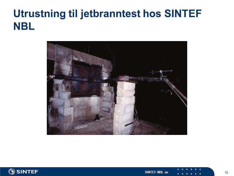 Utrustning til jetbranntest hos SINTEF NBL