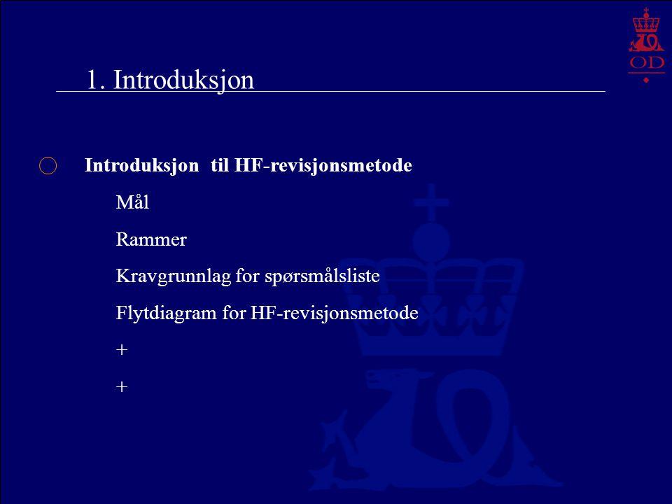 1. Introduksjon Introduksjon til HF-revisjonsmetode Mål Rammer