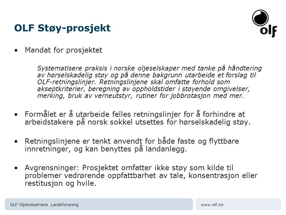 OLF Støy-prosjekt Mandat for prosjektet