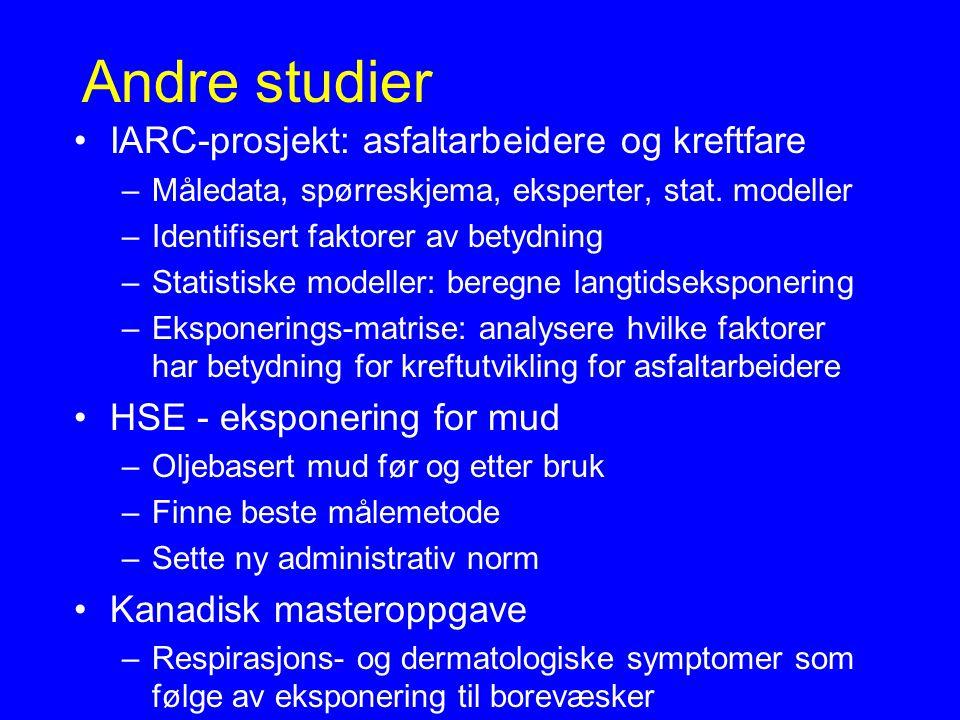 Andre studier IARC-prosjekt: asfaltarbeidere og kreftfare