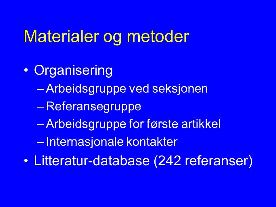 Materialer og metoder Organisering