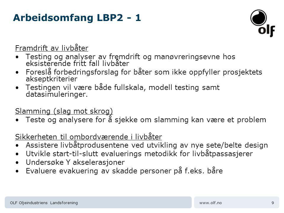 Arbeidsomfang LBP2 - 1 Framdrift av livbåter