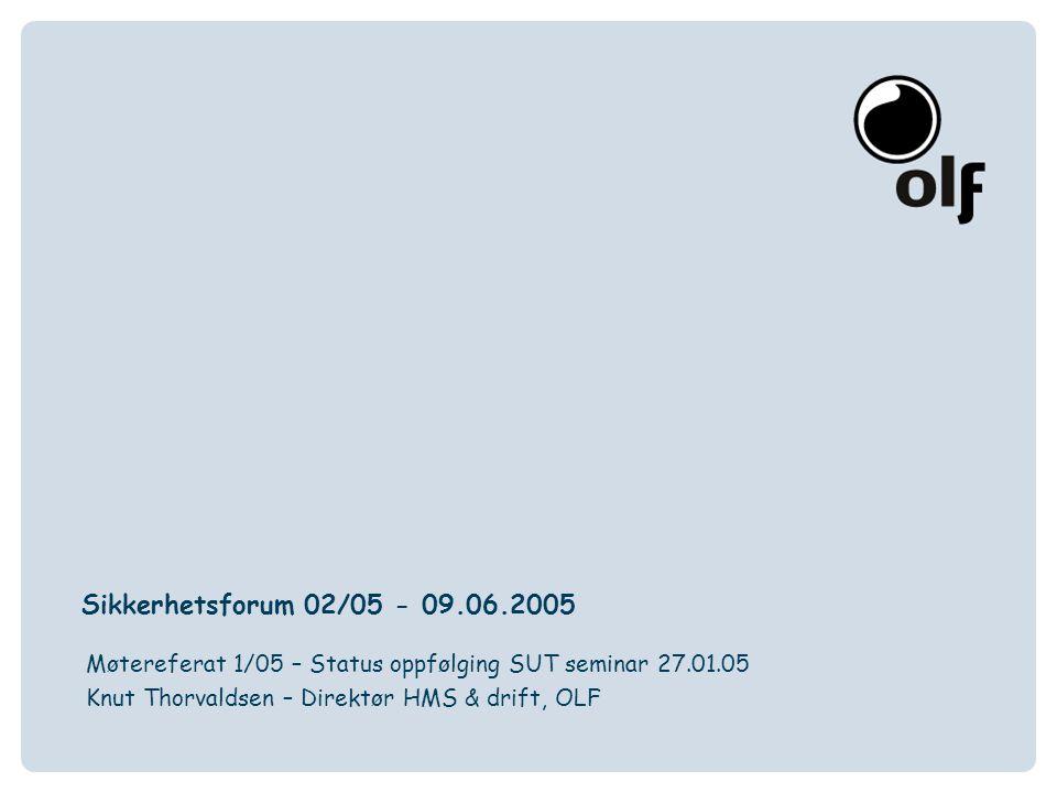Sikkerhetsforum 02/05 - 09.06.2005 Møtereferat 1/05 – Status oppfølging SUT seminar 27.01.05.