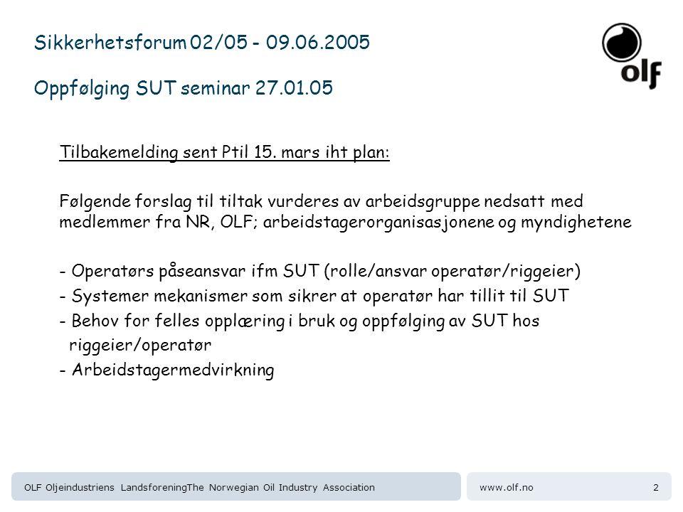 Sikkerhetsforum 02/05 - 09.06.2005 Oppfølging SUT seminar 27.01.05