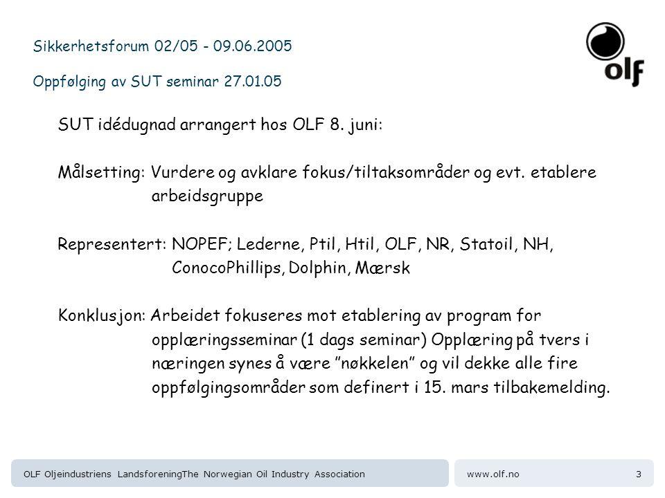 Sikkerhetsforum 02/05 - 09.06.2005 Oppfølging av SUT seminar 27.01.05