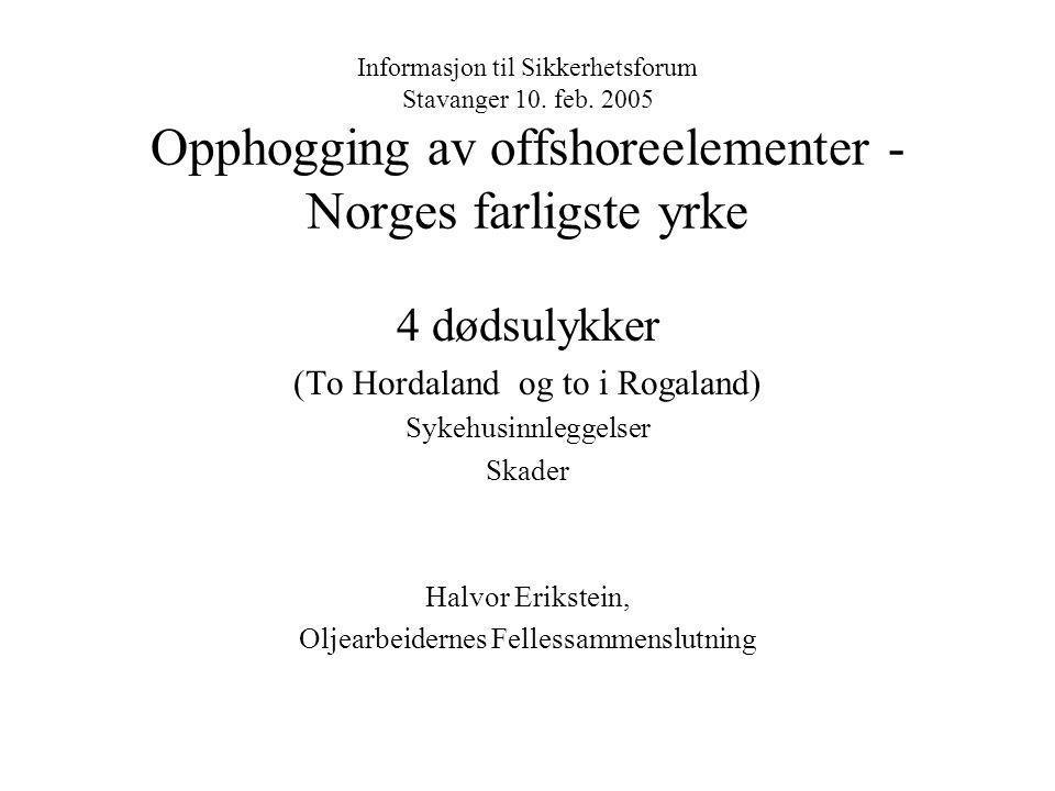 4 dødsulykker (To Hordaland og to i Rogaland) Sykehusinnleggelser