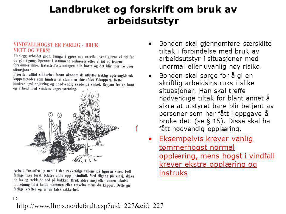 Landbruket og forskrift om bruk av arbeidsutstyr