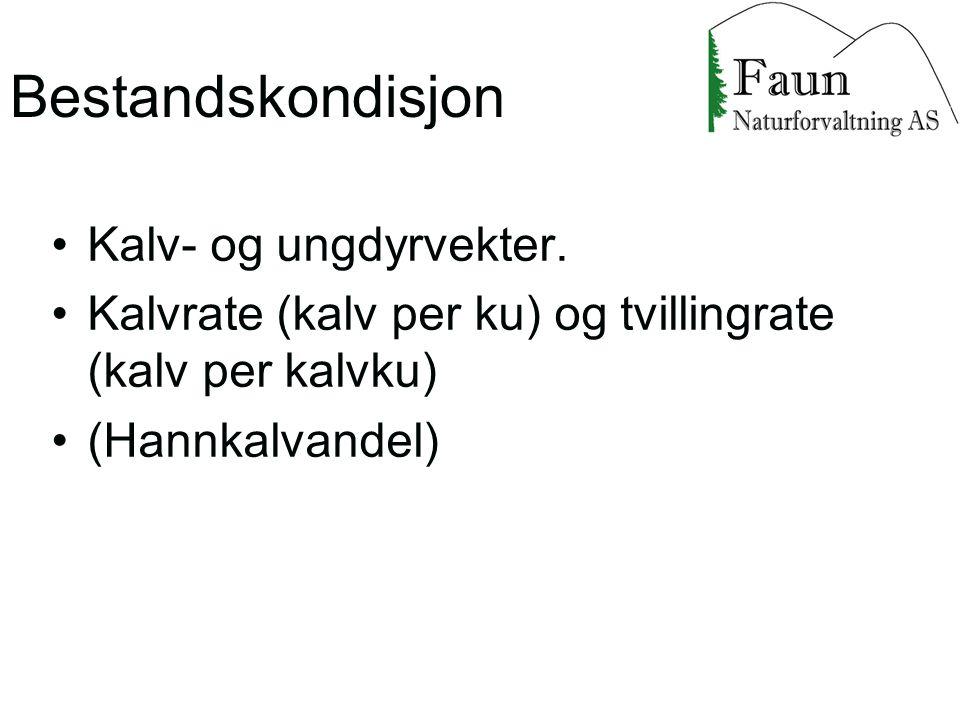 Bestandskondisjon Kalv- og ungdyrvekter.