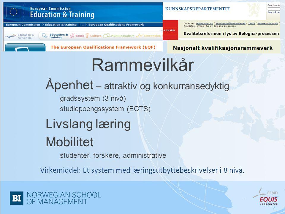 Virkemiddel: Et system med læringsutbyttebeskrivelser i 8 nivå.