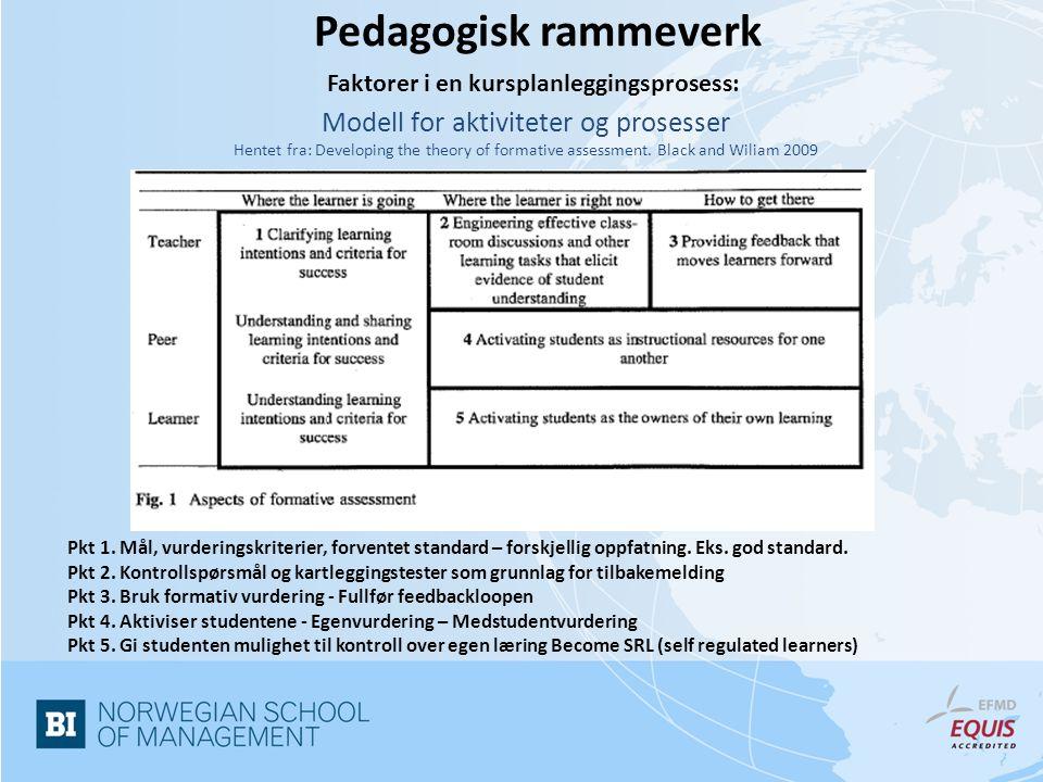 Faktorer i en kursplanleggingsprosess: