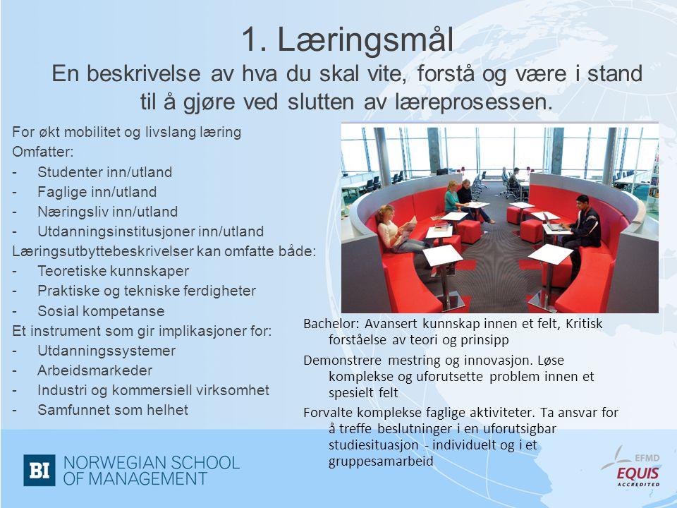 1. Læringsmål En beskrivelse av hva du skal vite, forstå og være i stand til å gjøre ved slutten av læreprosessen.