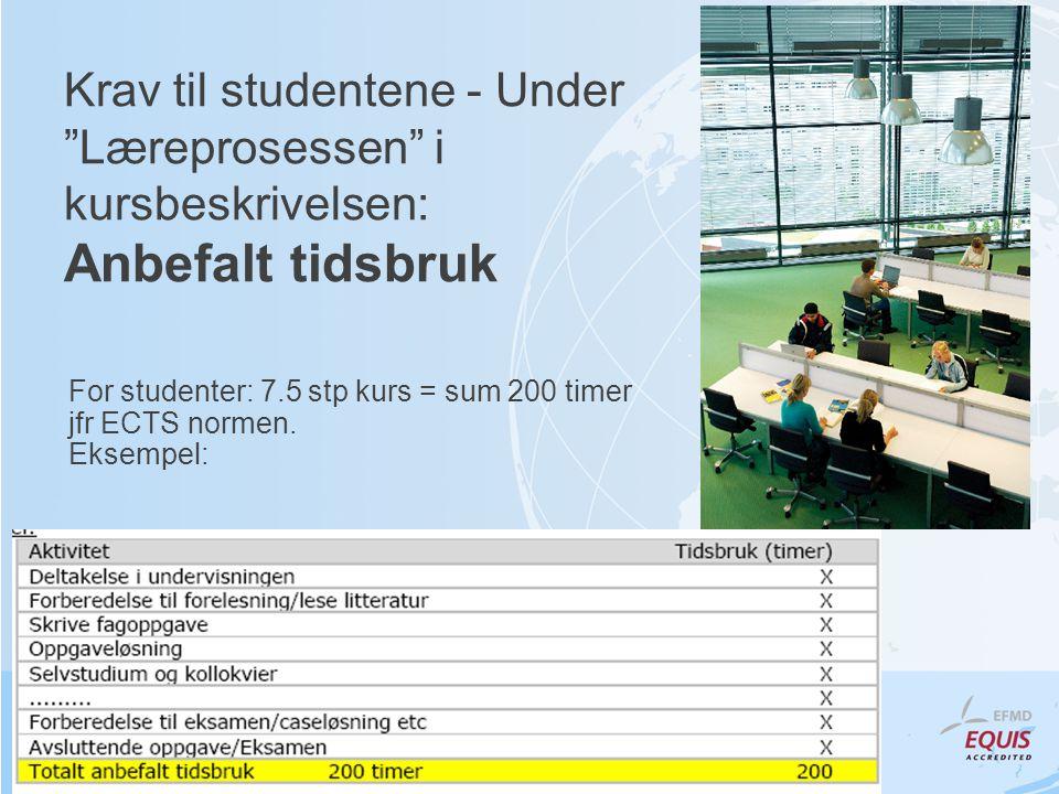 Krav til studentene - Under Læreprosessen i kursbeskrivelsen: Anbefalt tidsbruk