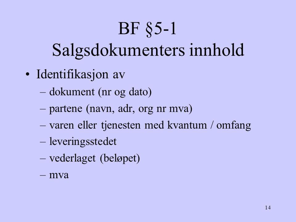 BF §5-1 Salgsdokumenters innhold