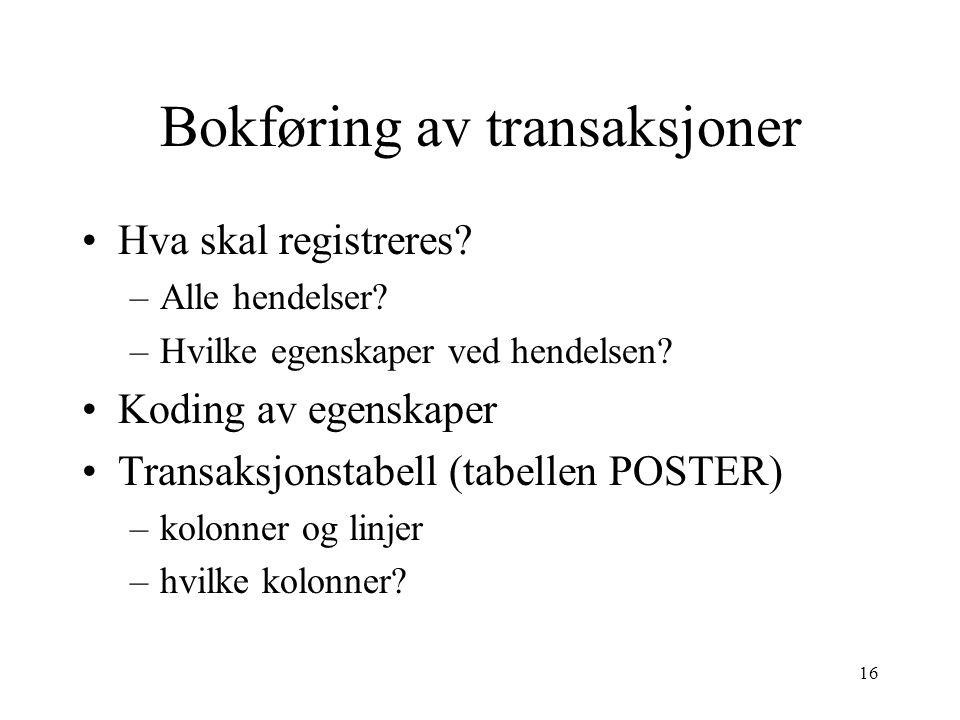 Bokføring av transaksjoner