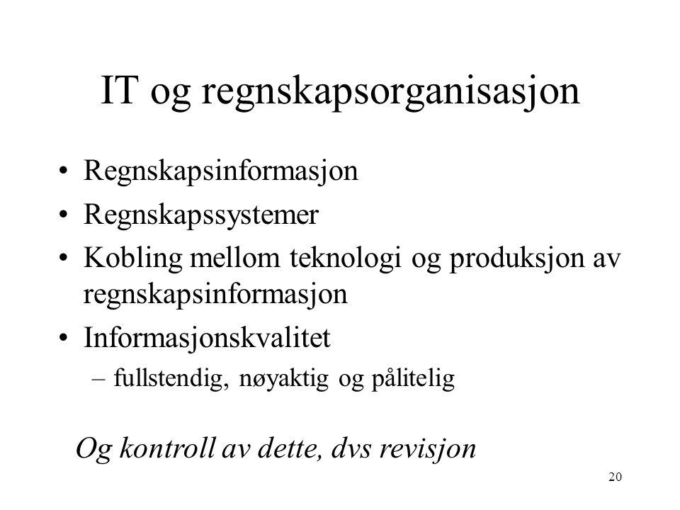 IT og regnskapsorganisasjon